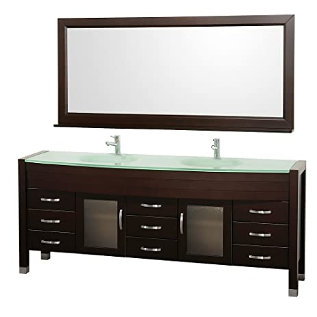 Lovely Wyndham Collection Daytona 78 Inch Double Bathroom Vanity In Espresso With  Green Glass Top With Green