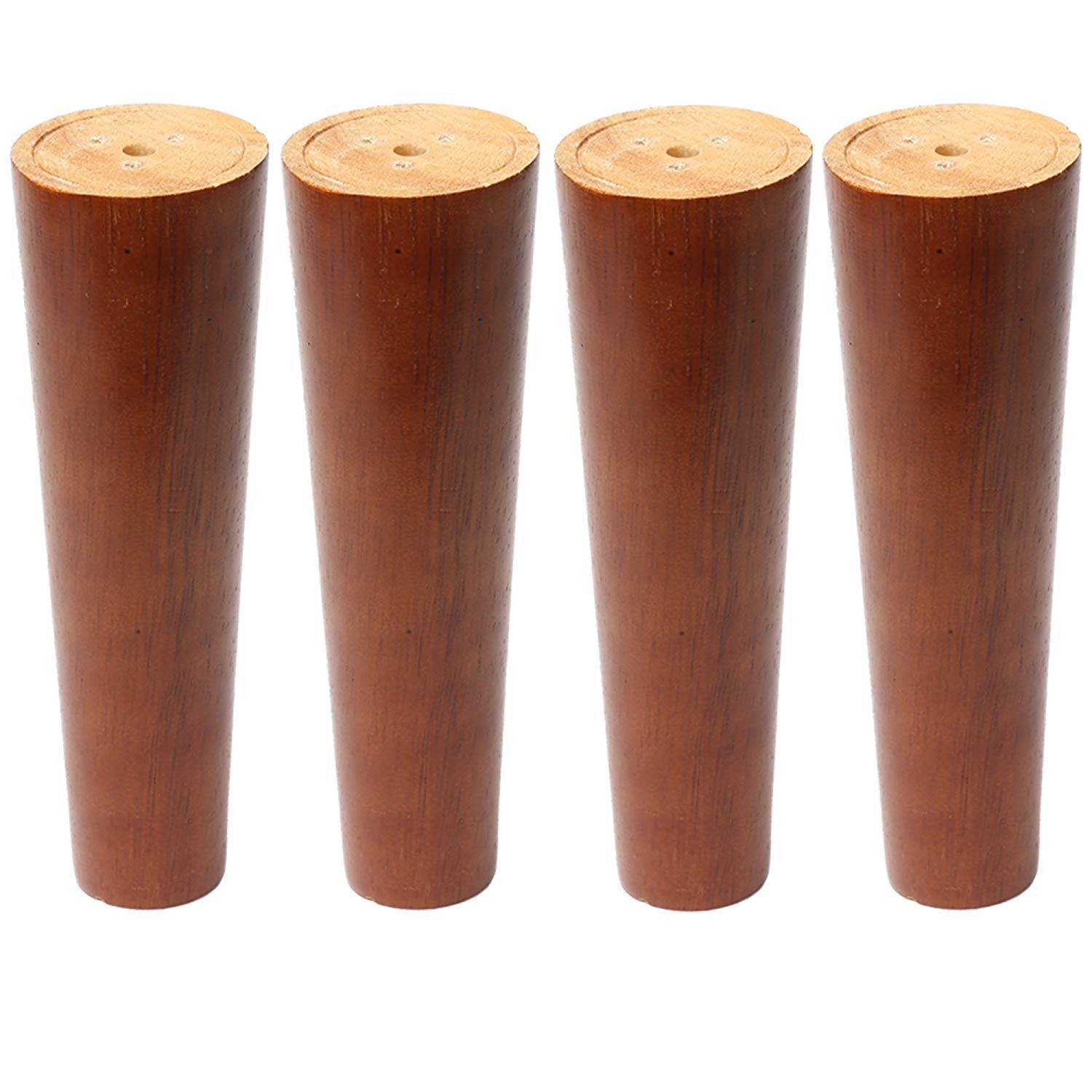 Sweet melodi Round Solid Wood Furniture Sofa/Chair/Couch/Loveseat/Cabinet Replacement Legs with Special Installation Parts,Perfect for IKEA or US Made Furniture(Walnut Color, 6 Inches,4 pcs)
