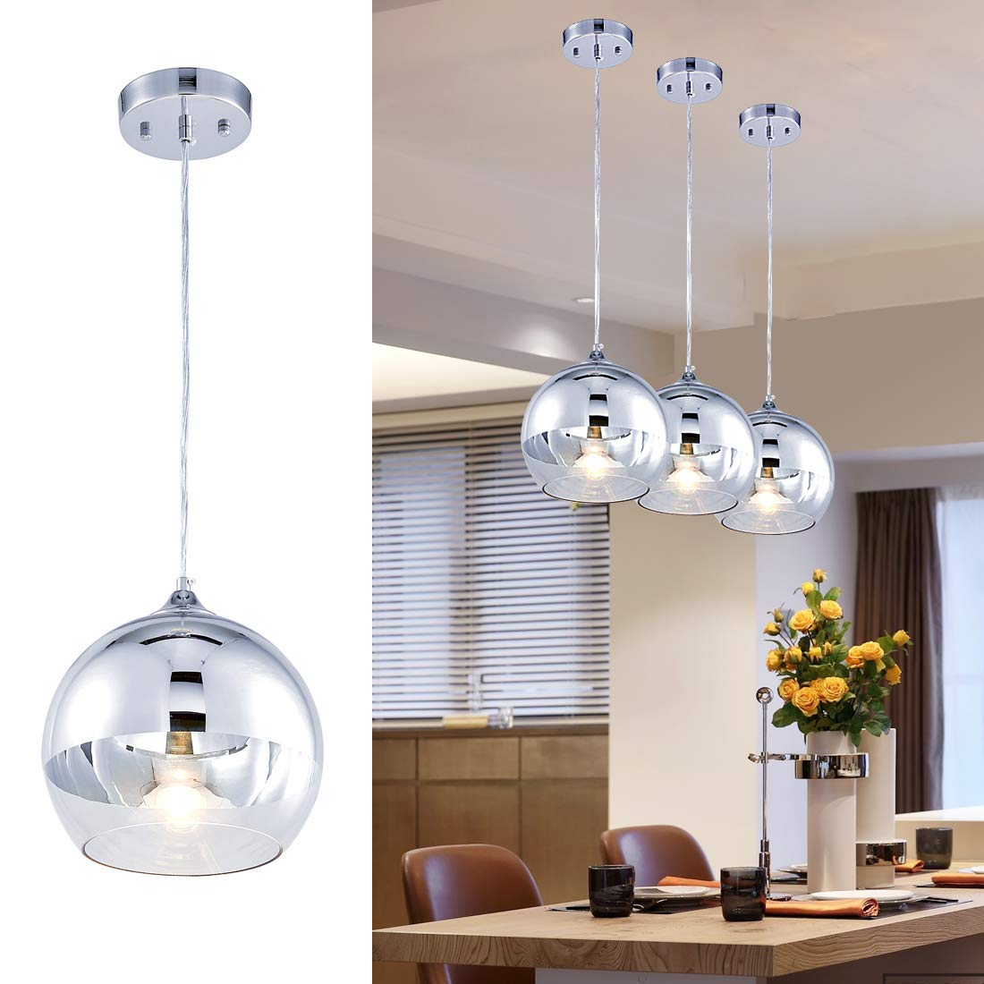 Tzoe globe pendant light 9 inches glass pendant lighthand blown glass hanging light polished chrome finishadjustable mirror ball pendant