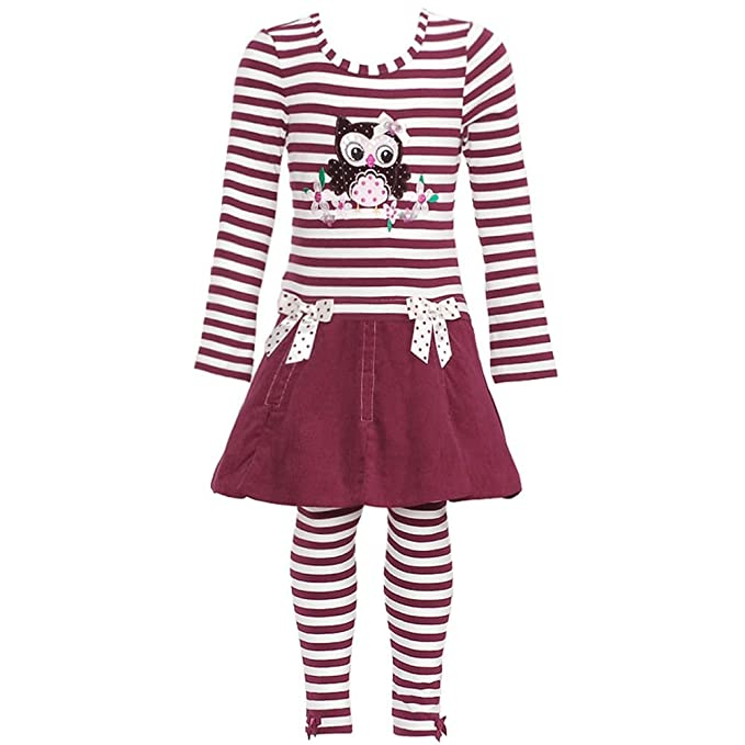 11c04fda8 Amazon.com  Bonnie Jean Girls Corduroy Owl Dress   Legging Outfit ...
