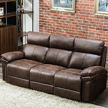 Amazon.com: Sofá reclinable de piel para salón, Poliuretano ...