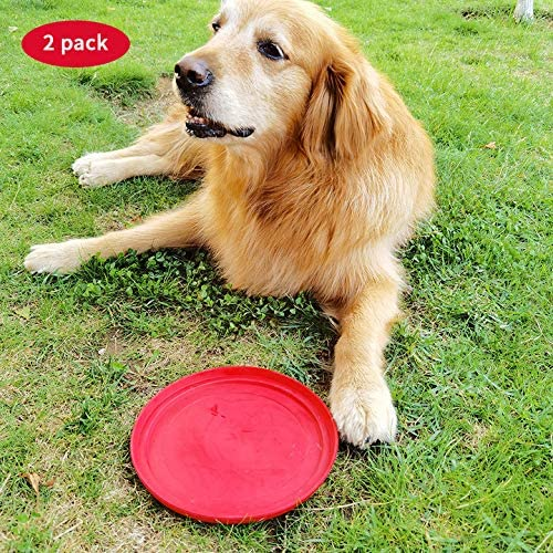 ROBLOCK 2 Pack Dog Frisbee Natural Soft Rubber Interactive Floating Water Flying Disc Toys for Small Medium or Large Dogs Outdoor Sport (Red)