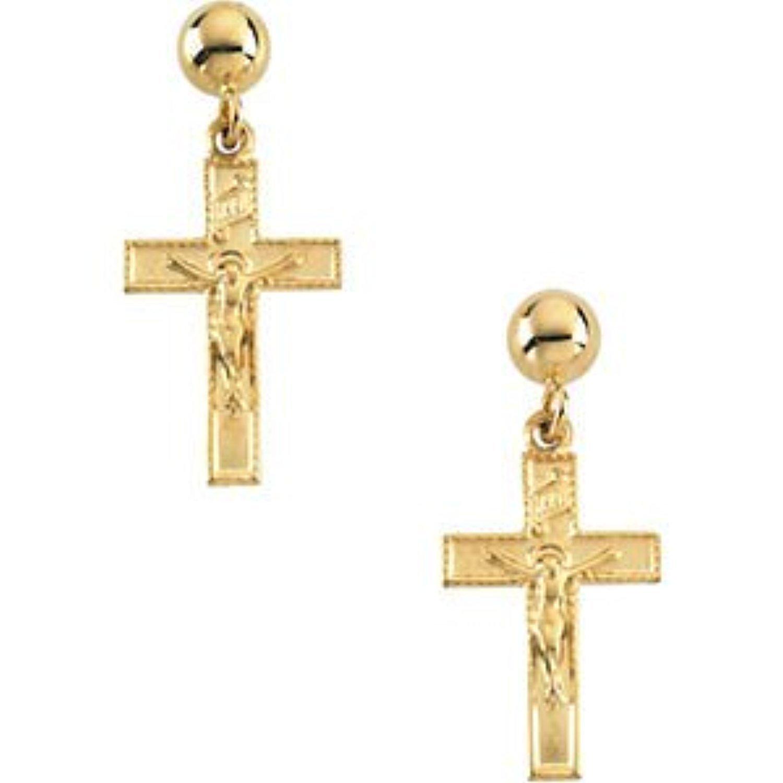 Petite Jesus Rising Crucifix Cross and Ball Dangle Earrings, 14k Yellow Gold (17X11MM)