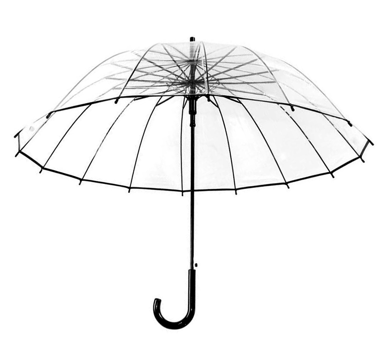 HappyGo Automatic Transparent Clear Travel Beach 16 Ribs Windproof Umbrella black