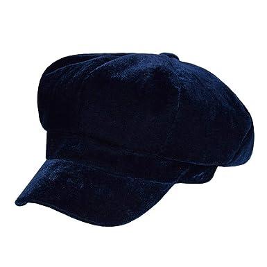UKURO Blue Newsboy Caps Women Velour Octagonal Hat Soft Solid Painter  Autumn Eight Piece Ivy Gray 643b778749