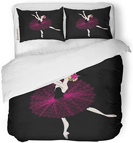 Ballet Dancer Duvet Covers Twin Size 2 Piece Cute Little Black Girl Quilt Comforter Cover with Zipper and 1 Pillow Case Blue-T Ballerina in Blue Tutu Dresses Printed on White Bedding Set