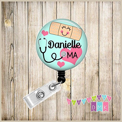 - Bandage with Stethoscope - Blue - PERSONALIZED - Button Badge Reel