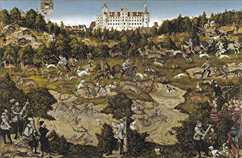 Oil Painting 'Cranach Lucas A Hunt In Honor Of Carlos V At Torgau Castle 1544' 20 x 31 inch / 51 x 78 cm , on High Definition HD canvas prints is for Gifts And Game Room, Laundry Room And Nurs decor