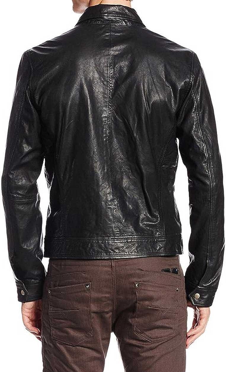 Kingdom Leather Mens Genuine Cow Leather Jacket Slim Fit Biker Motorcycle Jacket XC252