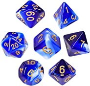 QMAY Swirl DND Dice Set Polyhedral 7-Die Dice Set with Free Black Pouches for Roleplaying Dice Games as RPG Pathfinder MTG(