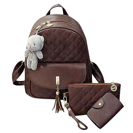 Amazon.com   PLCMJKJ 3Pcs Set Women Lattice Plaid Pu Leather Backpack  Tassel Shoulder School Bags Female Zipper Backpacks Brown 12 Inches    Sports   ... 5c41a27a0e40e