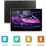 Dieniu Unlocked Pad 10 inch Octa Core 3G Tablet Android 7.0 with Dual SIM Card Slot 2GB RAM 32GB ROM Built-in WIFI Bluetooth GPS Netflix Youtube (Black)