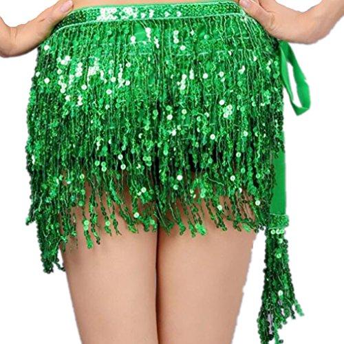 Egypt Women's Multi Layer Sequins Tassels Belly Dance Hip Scarf Waist Chain(Dark Green)