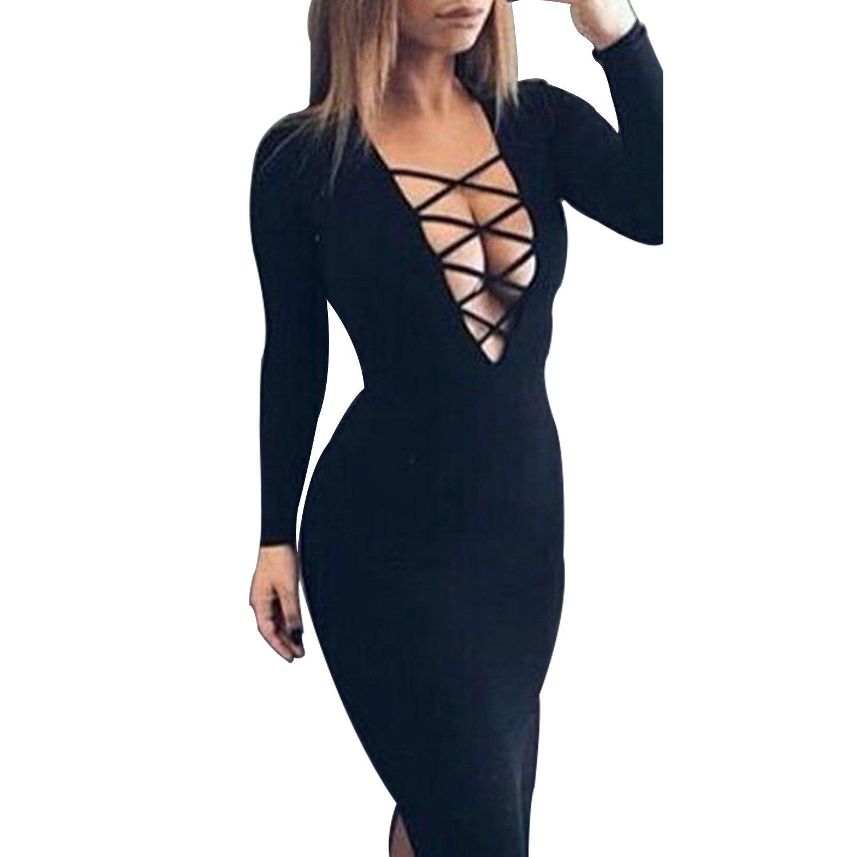 Romastory Women's Long Sleeve Warm Stretch Bodycon Party Bandage Dresses