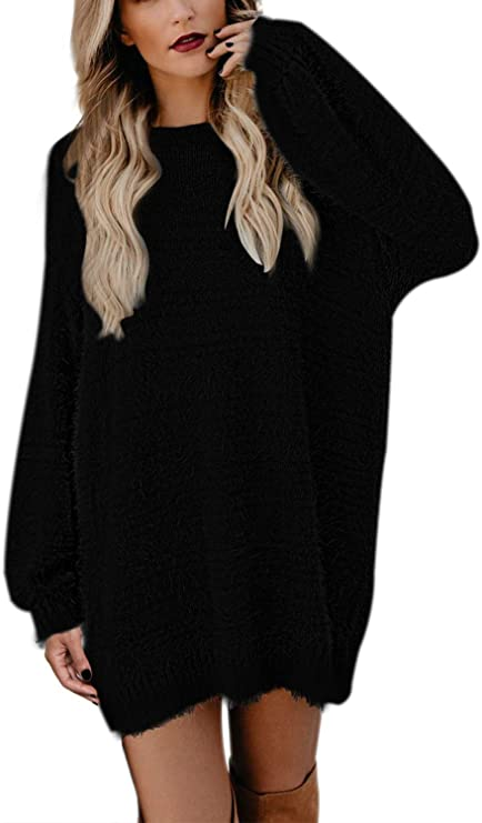 Pink Queen Women's Faux Fur Crewneck Long Sleeve Oversized Pullover Sweater Dress with Pocket