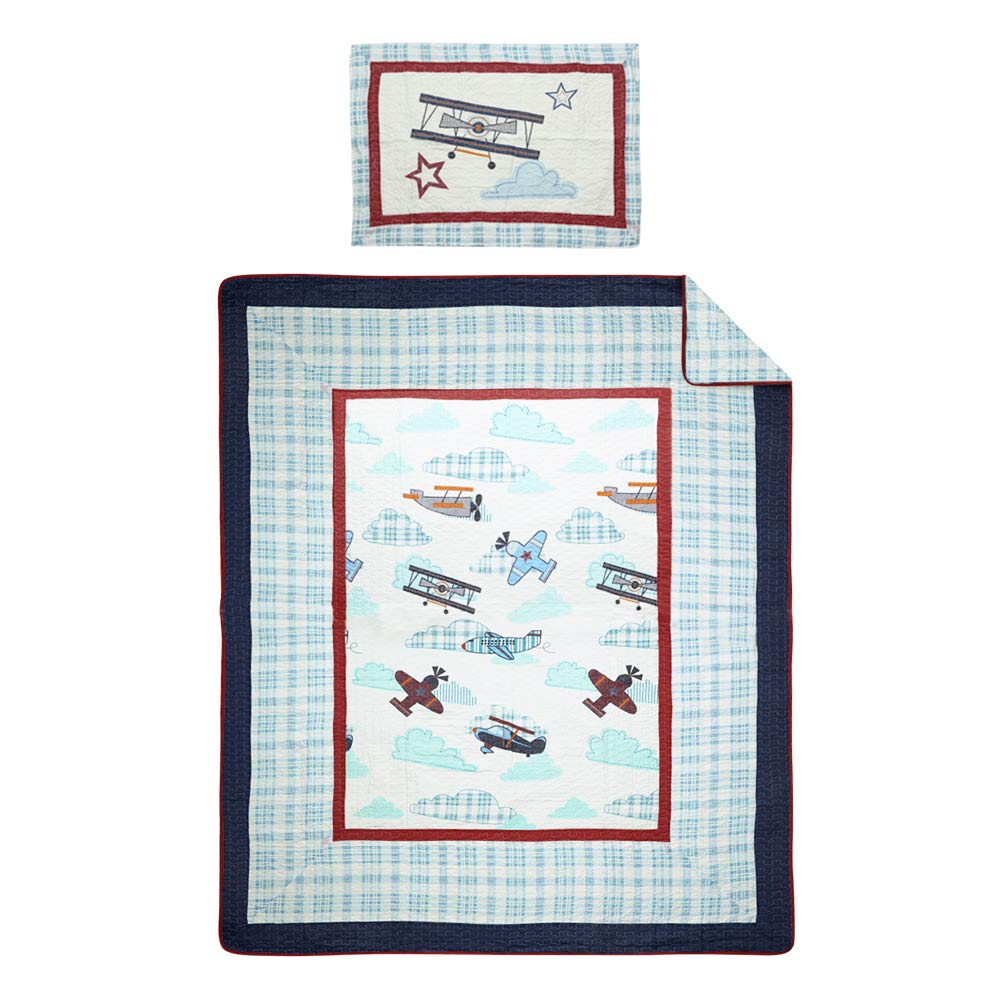 NEWLAKE Airplane Bedding Quilt Sets-2 Pieces of Bedspread Coverlets, Twin Size