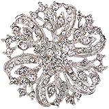 EVER FAITH Austrian Crystal Vintage Inspired Bridal Flower Brooch Corsage Clear Silver-Tone
