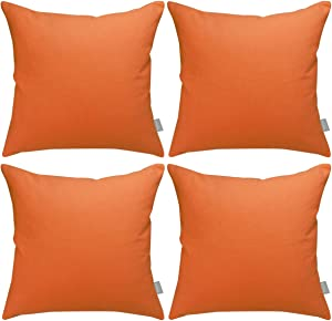 Pack of 4 Cotton Pillow Covers,Decorative Solid Square Throw Pillow Case for Home Sofa Decorative (Cover Only,No Insert)(18x18 inch/ 45x45cm,Orange)