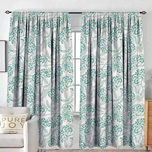 (NUOMANAN Insulated Sunshade Curtain Teal,Classic Botanical Pattern with Creeper Leaves and Berries Autumn Fall Nature Theme,Tan Turquoise,Darkening and Thermal Insulating Draperies 100