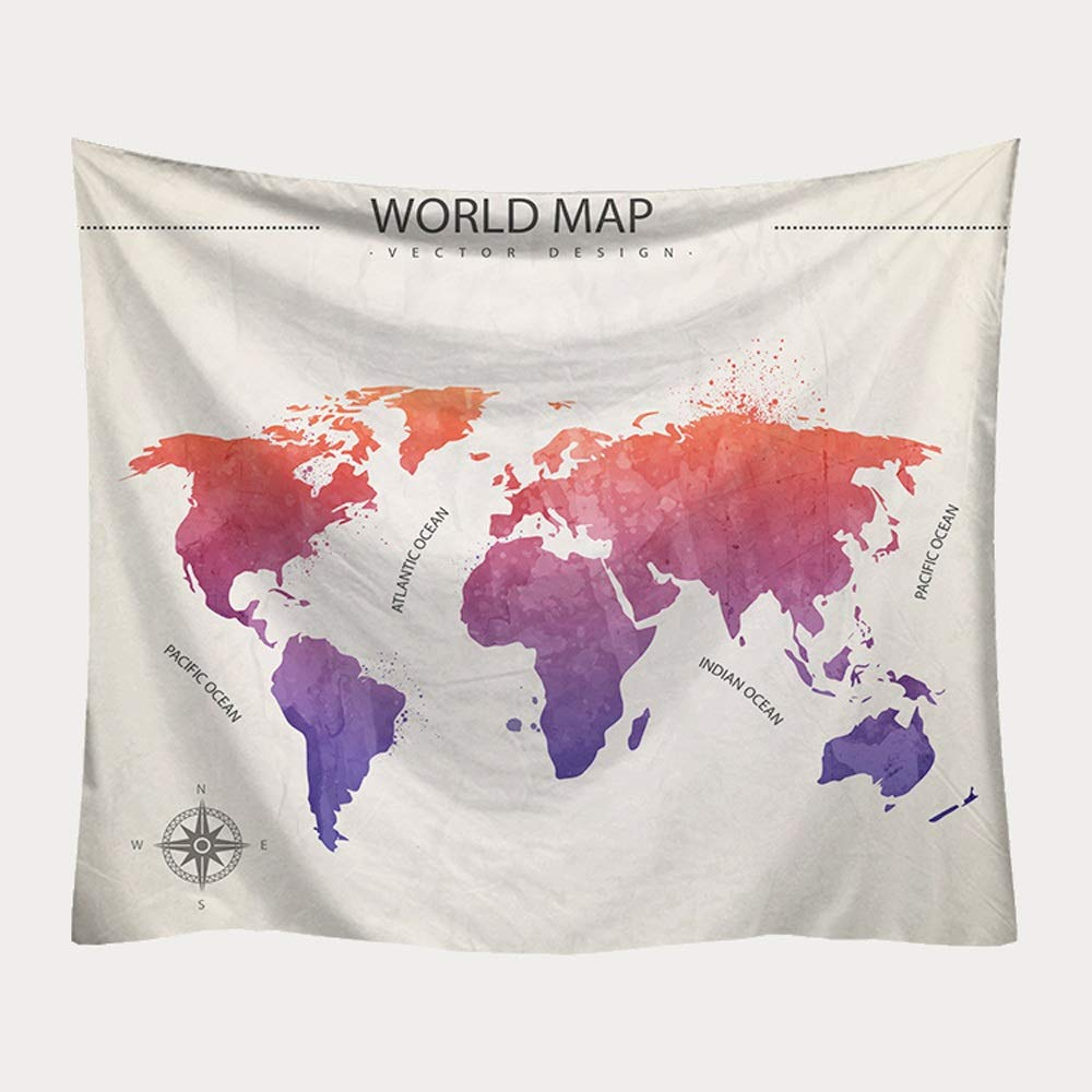 ETH Nordic hangcloth Decorative Tapestry Tapestry Beach Towel Tapestry World map Printing Blanket Durable (Size : 150x130CM)