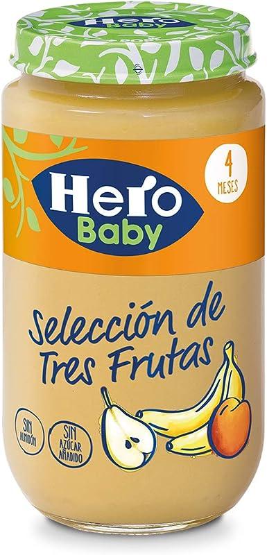Hero Baby Baby Natur Seleccion De Tres Frutas Alimento Infantil A Partir De 4 Meses, Sin gluten y Aditivos - 235 g: Amazon.es: Alimentación y bebidas