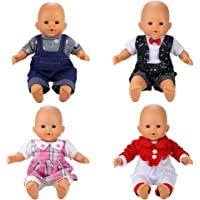 Barwa 4 Sets Jumpsuits Clothes Outfits Handmade Costume Pajamas for Baby Doll American Girl Doll