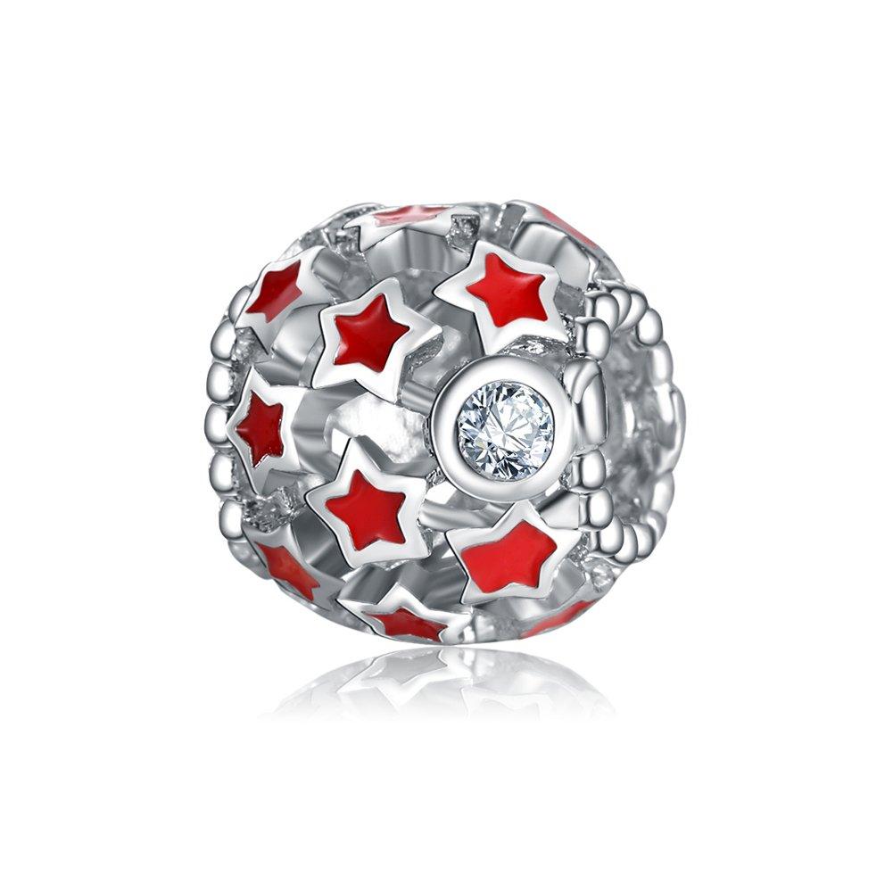 Yingyan Rouge  Émail Ajour é  Étoiles Argent Charmes Perles Europ éennes  pour Pendentif Collier Bracelets Bracelet ... 52298dddc91