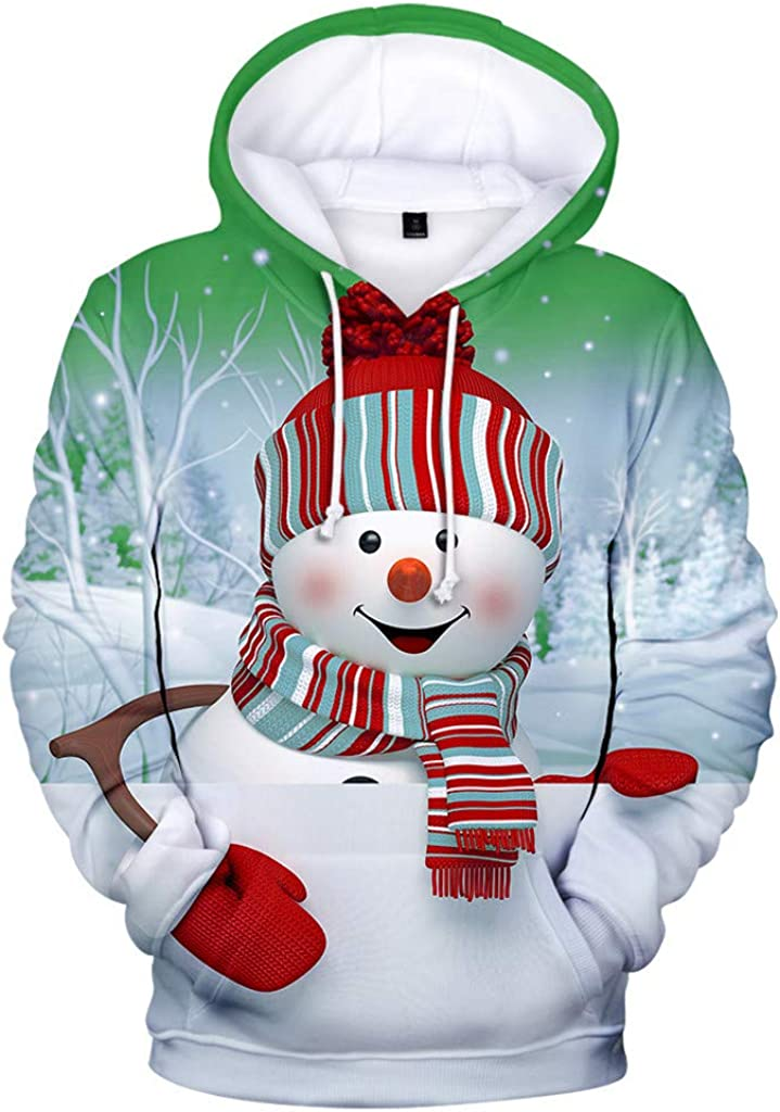 Pan Hui Women Snowman Printed Hooded Christmas Sweatshirt Warm Drawstring Tunic Tops Pullover Sporty Shirt Blouse