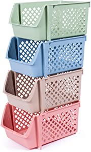DVHOK 4Pcs Stackable Storage Basket Organizer for Food Snacks Toys Toiletries Plastic Storage Bins Multicolor