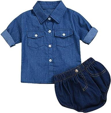 Yonimu Baby Boys Girls Casual Romper Jeans Shirt + Shorts ...