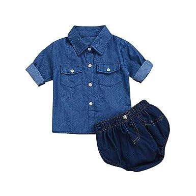 2 unids Trajes de Verano para Bebé Pantalones Vaqueros ...