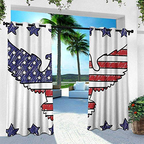 Hengshu American Flag, Patio Curtains,Sketch Patriotic Bald Eagle National Icon Majestic Emblem Symbolic Image Art, W84 x L108 Inch, Red Blue ()