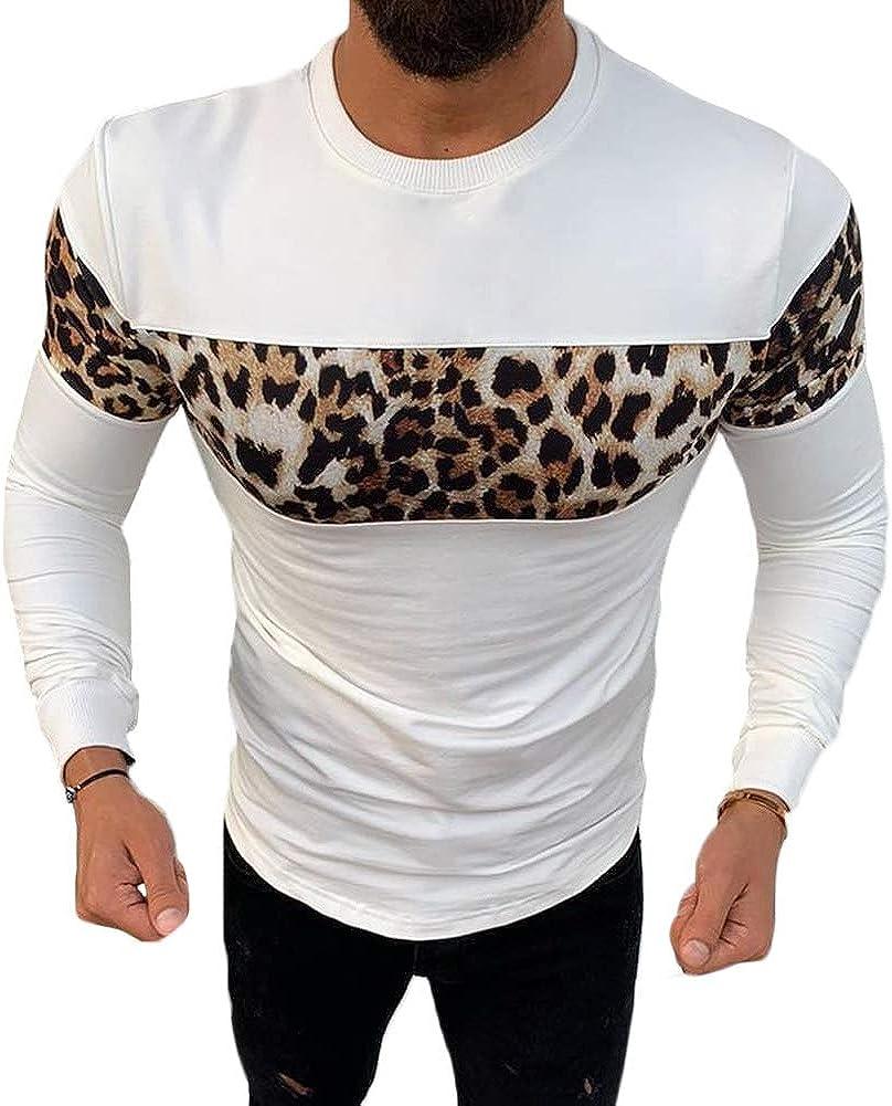 lisenraIn Mens Long Sleeve Crewneck Sweatshirt Leopard Print Lightweight Pullover T Shirt
