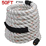 2'' Poly Dacron 50ft/White Battle Rope Workout Strength Training Undulation TKT-11