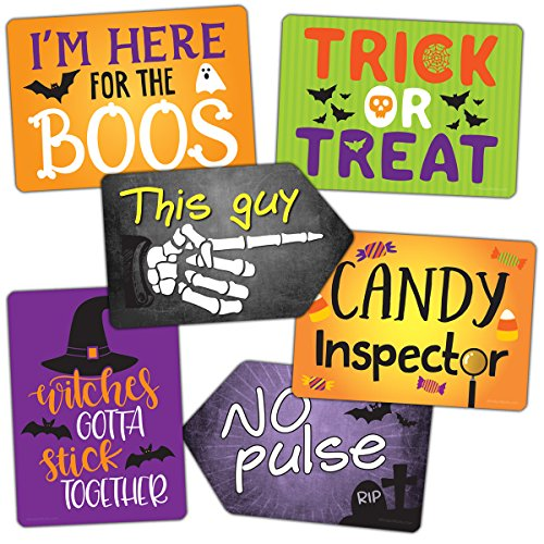 Vibrant Plastic Photo Booth Prop Signs - HALLOWEEN MIX - Set of 3 colorful signs perfect for a costume party and photo -