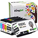 950XL 951XL Ink Cartridges, 1Set+1BK High Yield Replacements with New Chips(Updated on May 15, 2018) Fit Officejet Pro 8100 8600 8610 8615 8620 8625 8630 Printers- Kingjet