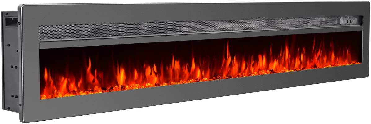 GMHome 70 Inches Wall Recessed Electric Fireplace 9 Changeable Color Realistic Crystal Stone Flame Heater, with Remote, 1500W, Metal Panel - Black