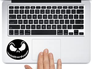Art's Jack Skellington scary face nightmare before christmas halloween decoration for macbook mac air laptop trackpad toolbox decal sticker approx. 3.5 inches black