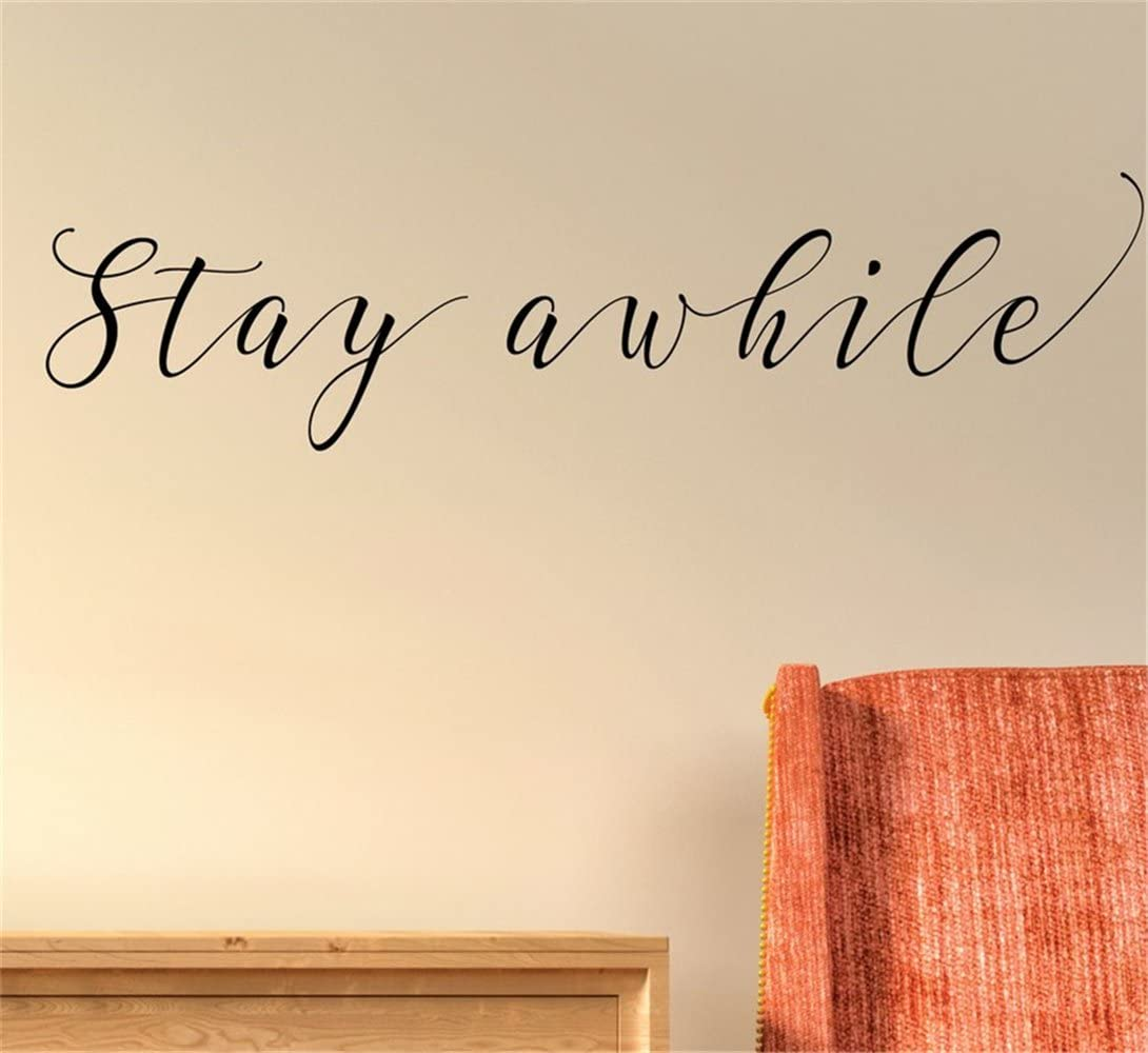 Amazon Com Stay Awhile Wall Quotes Decal Wall Stickers Art Decor Vinyl Peel And Stick Mural Removable Wall Sticker Decals For Room Home Kitchen Dining