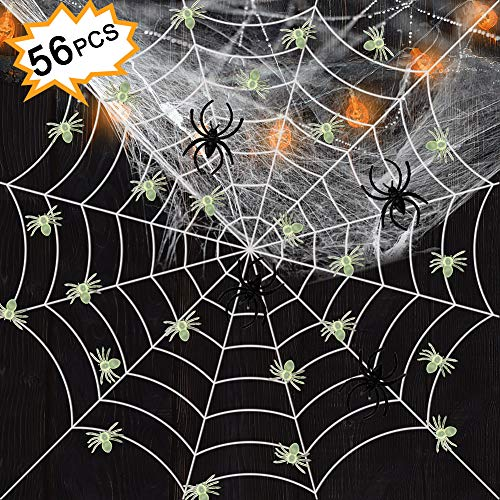 Tacobear Halloween Decorations Spider Webs 50 Luminous Spiders
