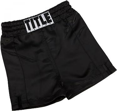 Black Title Professional Satin Boxing Trunks