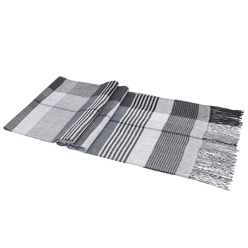 Men Plaid Scarf Autumn Winter Classic Cashmere Trend Middle-Aged Mens Casual Tassel Scarf SC025