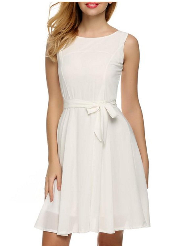 Qissy®Fashion Damen Chiffonkleid Brautjungfernkleid Partykleid Prinzessin Hochzeit Kleid A-Linie Ärmellos