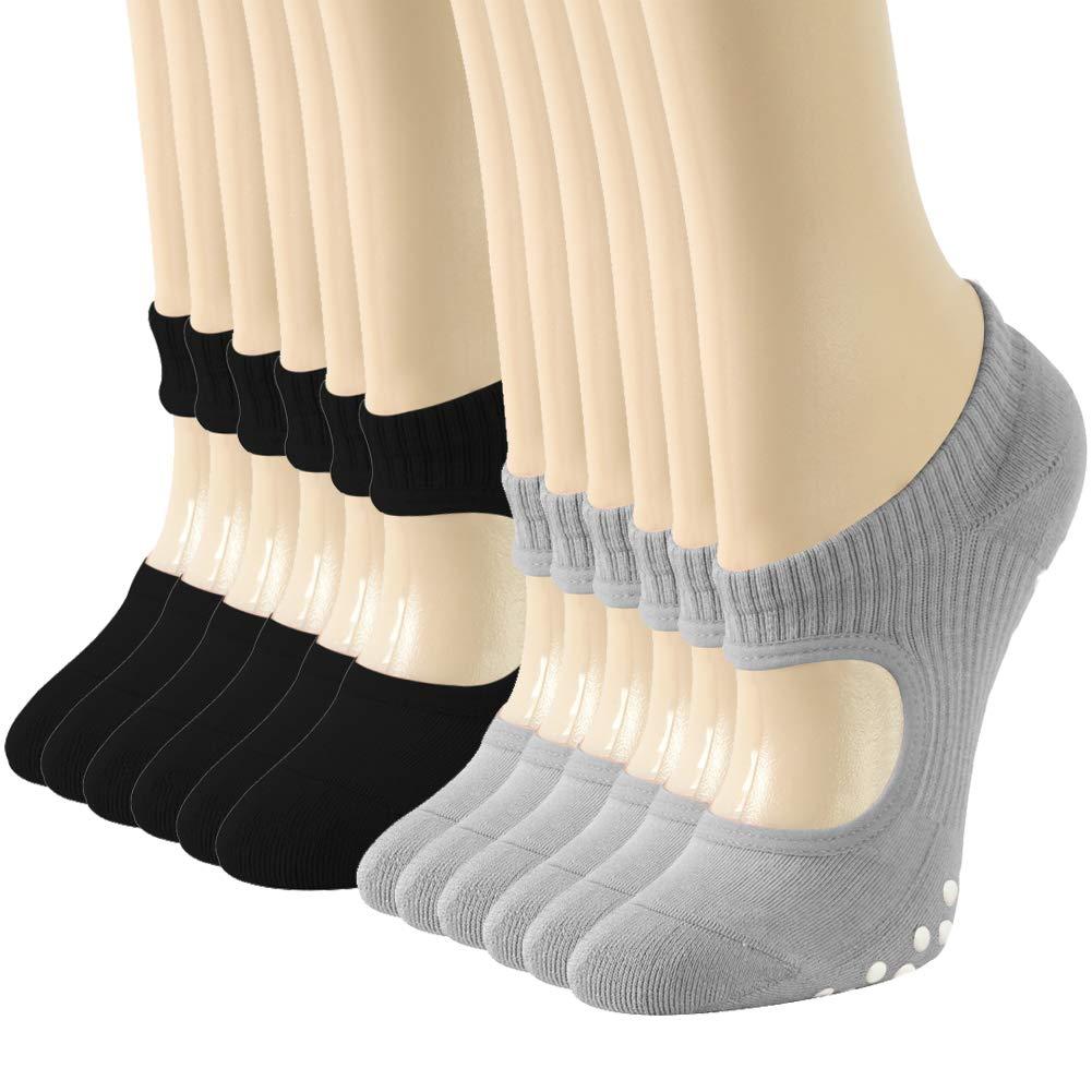 Ballet-inspired Yoga Socks with Straps, Gmark Women's Non Slip Yoga Socks, Anti-Skid Pilates, Barre, Pack of 6 Medium by Gmark