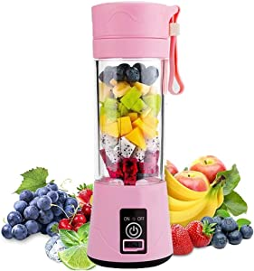 Aizbao Portable Blender, 380ml Six Blades 3D Juice cup, Small Fruit Mixer, Personal Mixer Fruit Rechargeable with USB, Mini Blender for Milk Shakes, Smoothie, Fruit Juice (Pink)