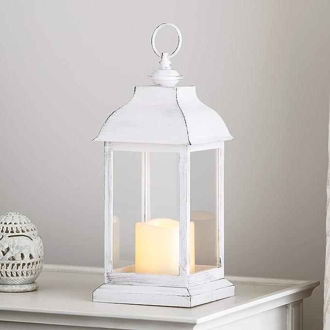2 opinioni per Lights4fun- Lanterna in Plastica Bianca ad Effetto Consumato con Candela LED a