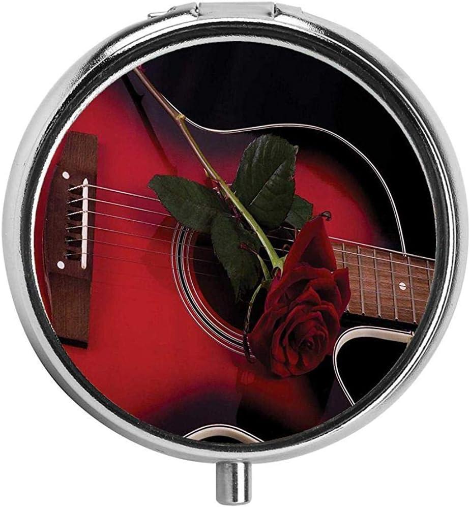 Rojo y negro Músico español Portugal Guitarra con romance Tema Amor San Valentín Rosa Rubí y blanco Pastillero Estuche para pastillas de viaje