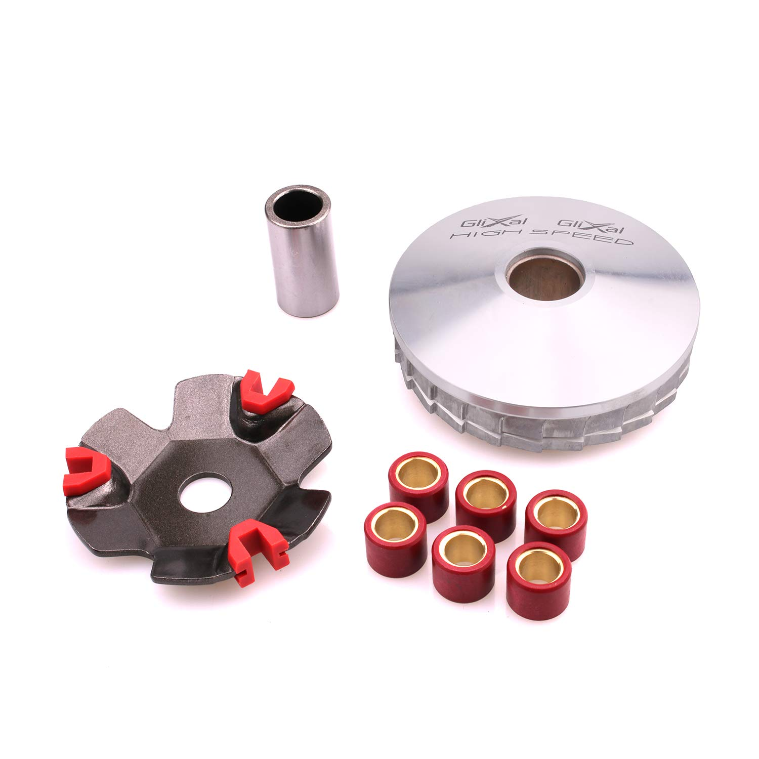 Glixal ATKS-041 High Performance Racing Variator Kit with 6.5 gram Roller Weights for Chinese Scooter Moped ATV 4-Stroke GY6 50cc 80cc 100cc 139QMB 139QMA Engine Front Clutch by Glixal