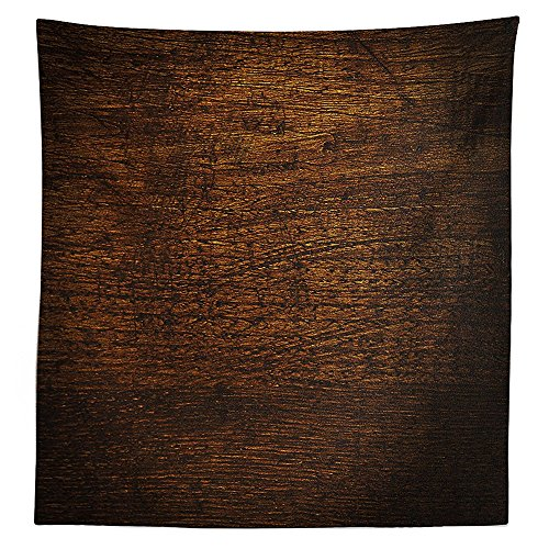 Wooden Decor Tablecloth Old Vintage Antique Timber Oak Background Rustic Floor Artisan Photo Print Dining Room Kitchen Rectangular Table Cover Chestnut Brown Artisan Oak Rectangular Table
