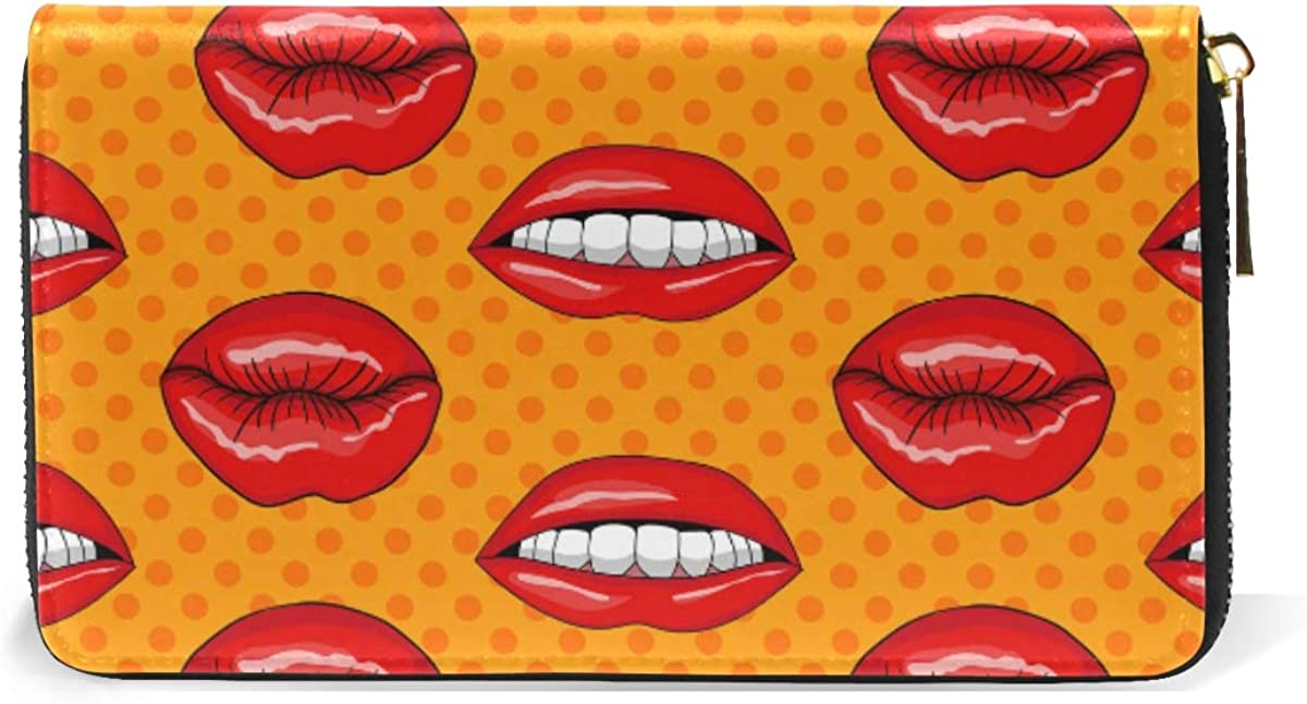 Lips Pop Art Style Wallet Real Leather Purse Credit Card Holder for Women Phone Girl